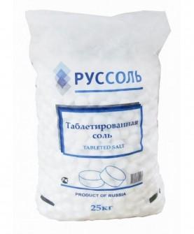 Соль таблетированная ООО «Руссоль» в мешках по 25кг