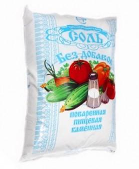 Соль поваренная пищевая в/с помол № 1 в пакетах по 1 кг в мешках по 20 кг
